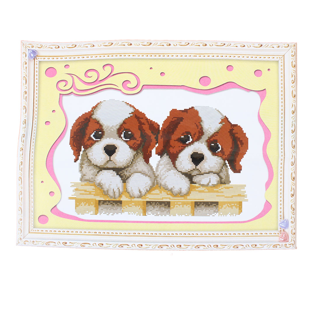 Two Dog Printed Stamped Cross Stitch Counted Gift Handmade for Lady