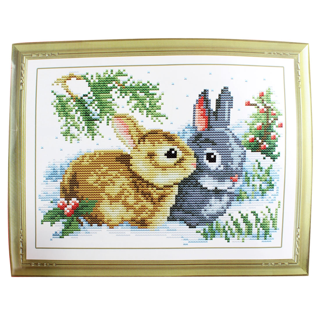 Rabbit Grass Pattern Stamped Cross Stitch Counted Kit for Lady Woman