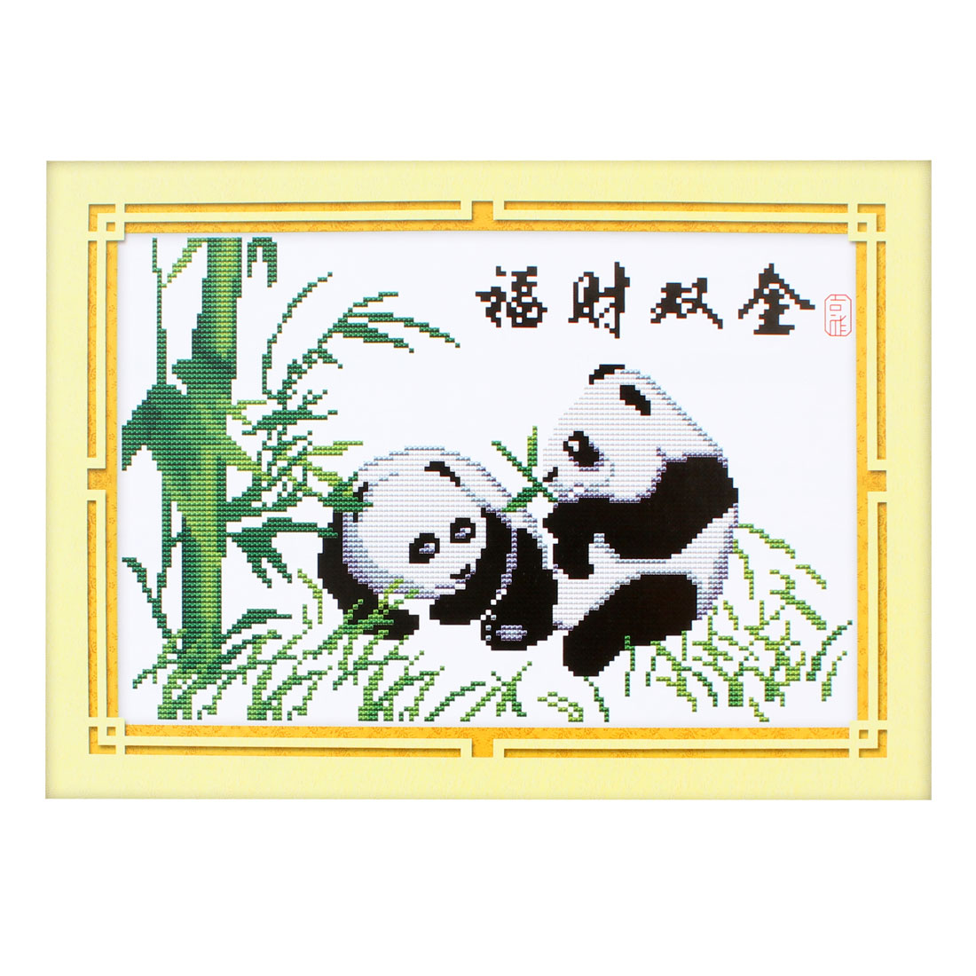 Panda Bamboo Pattern Stamped Cross Stitch Counted Kit for Lady Woman