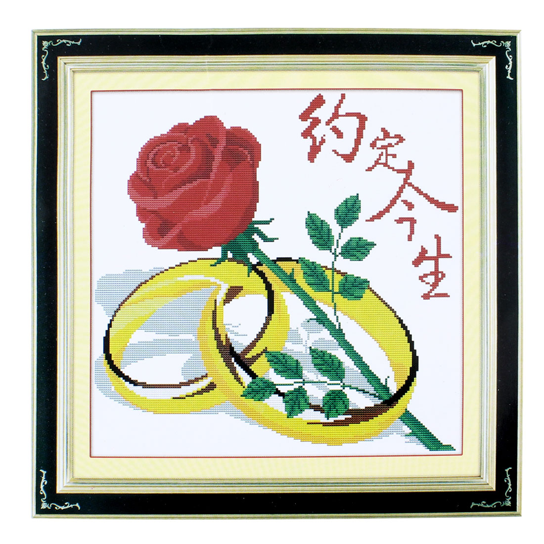 Flower Ring Pattern Stamped Cross Stitch Counted Kit for Lady Woman