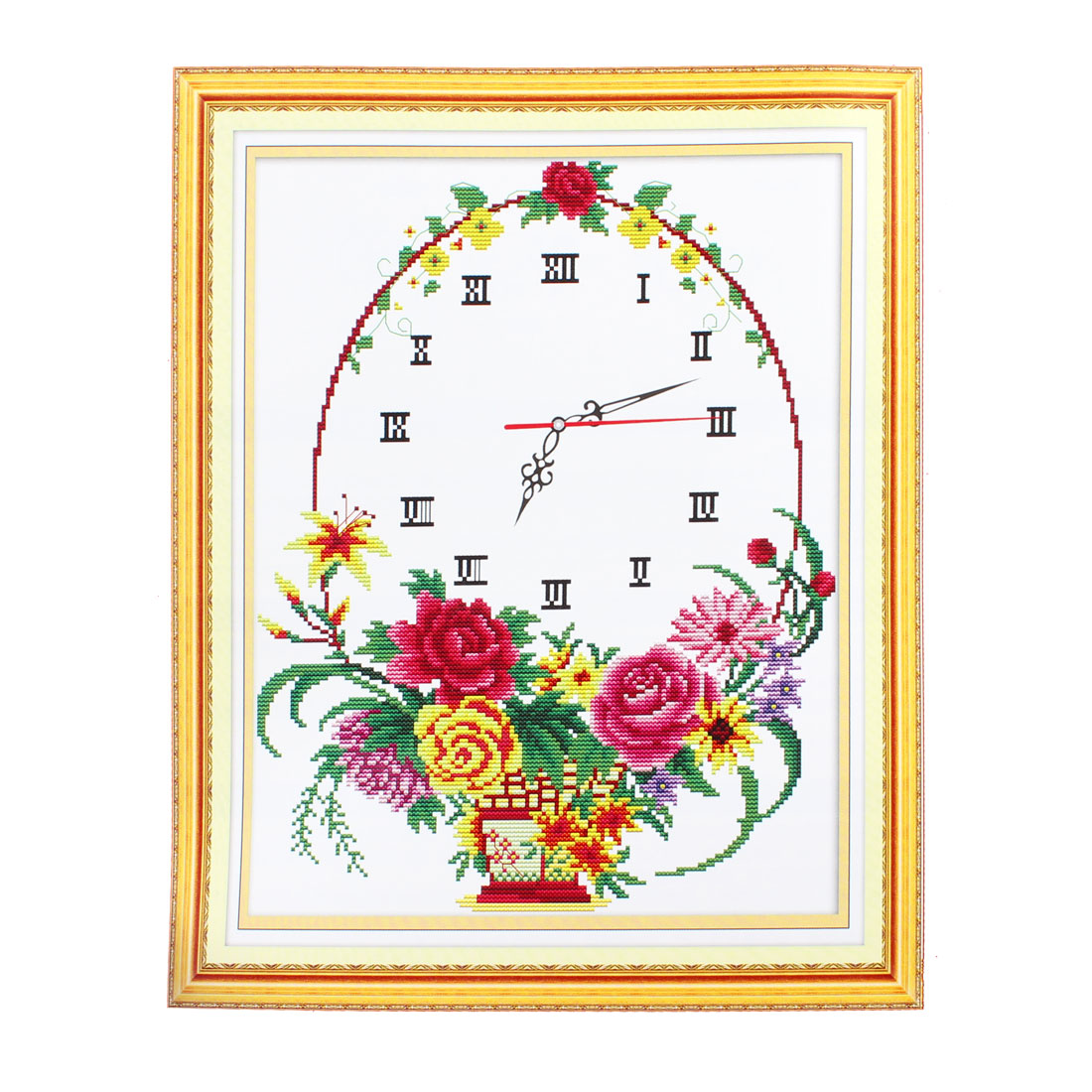 Floral Clock Pattern Stamped Handmade Cross Stitch Counted Gift for Lady