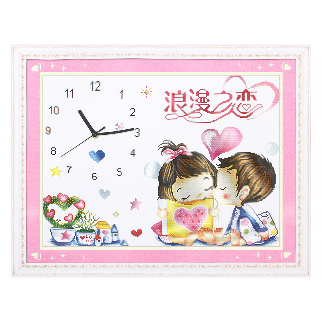 Boy Girl Clock Printed Stamped Cross Stitch Counted Gift Handmade for Lady