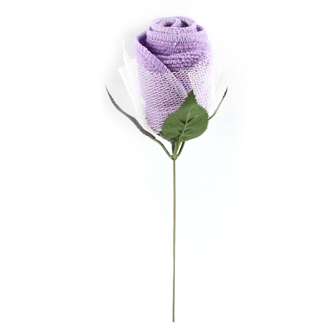 Hotel Travel Green Plastic Leaves Light Purple Rose Face Wash Cloth Towel