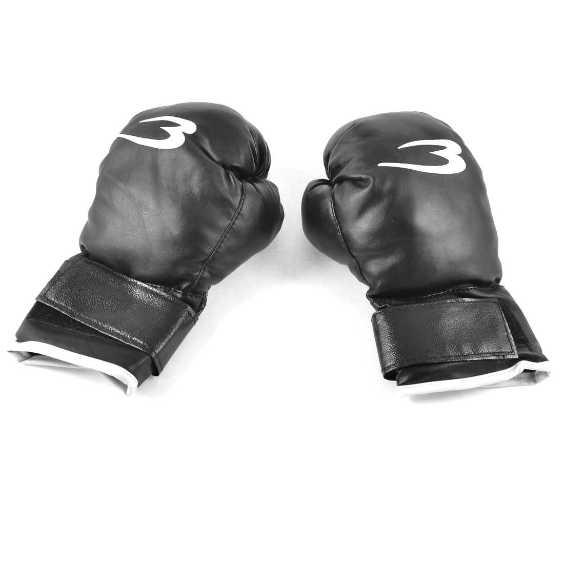 Children Sponge Padded Black Faux Leather Mittens Boxing Gloves Pair