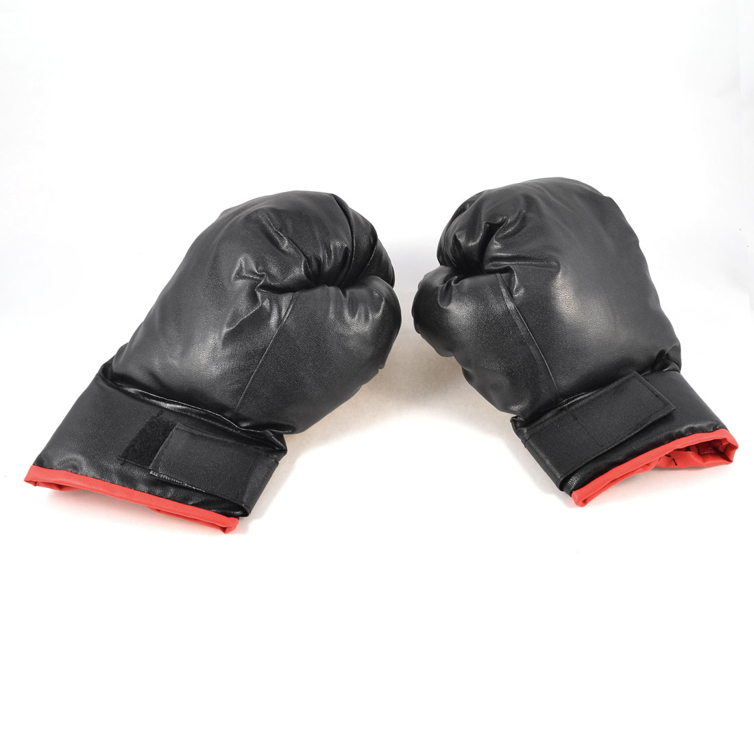 Adult Sponge Wad Black Faux Leather Sports Mittens Boxing Gloves Pair