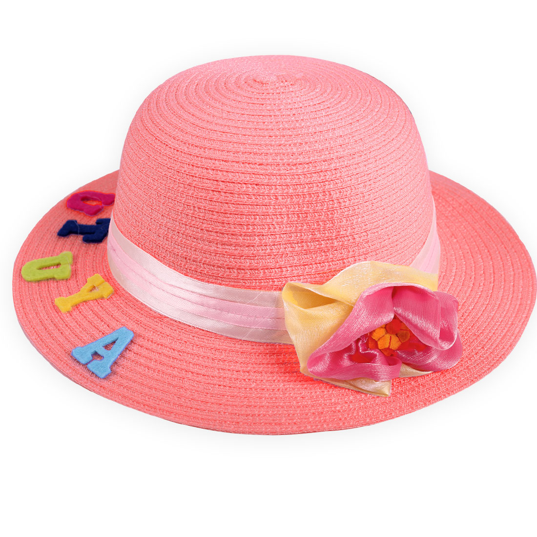 Pretty Coral Pink Elastic Neck Strap Design Manmade Flower Decor Hat for Girl
