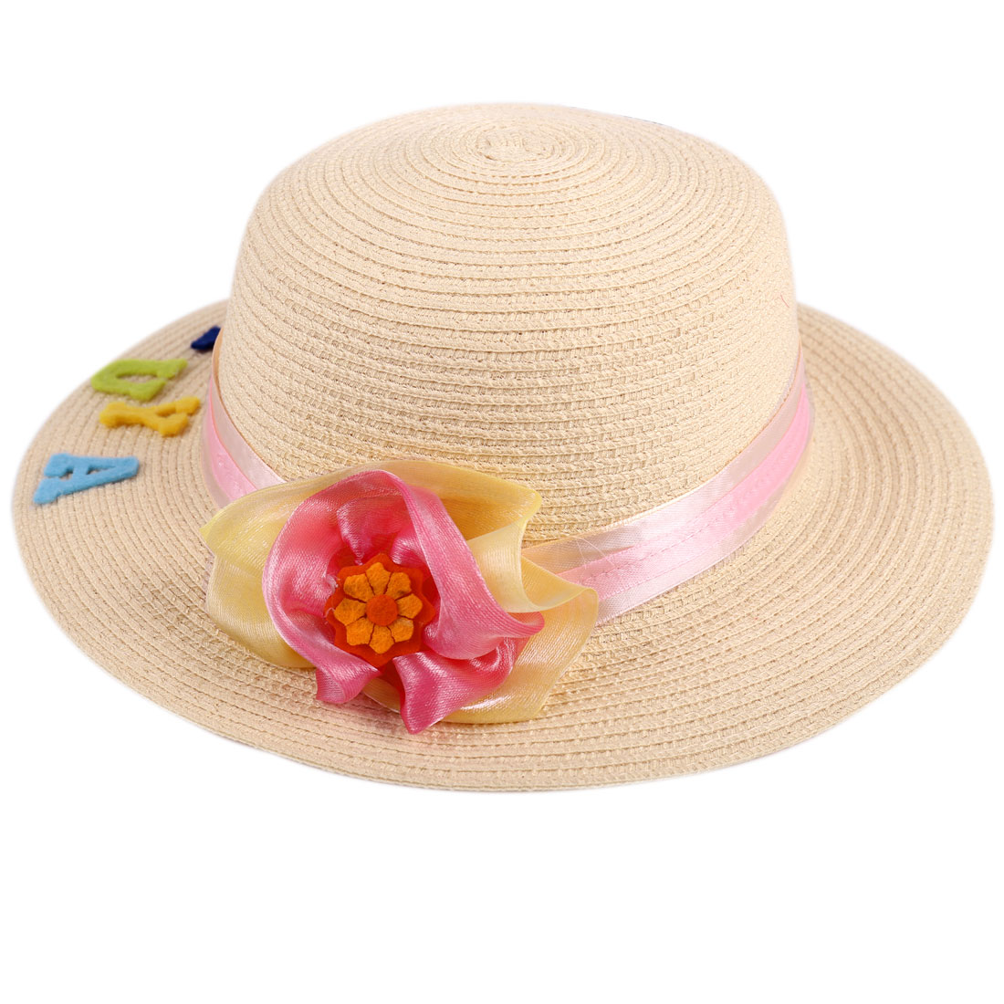 Girls Beautiful Handmade Flower Decor Beige Textured Woven Straw Hat