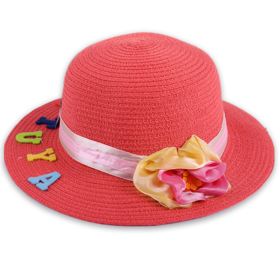 Pretty Red Color Elastic Neck Strap Design Handmade Flower Decor Hat for Girl