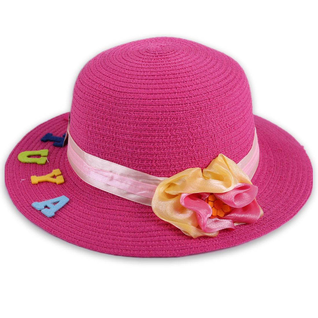 Nice Fuchsia Color Handmade Flower Embellished Sun Straw Hat for Girl