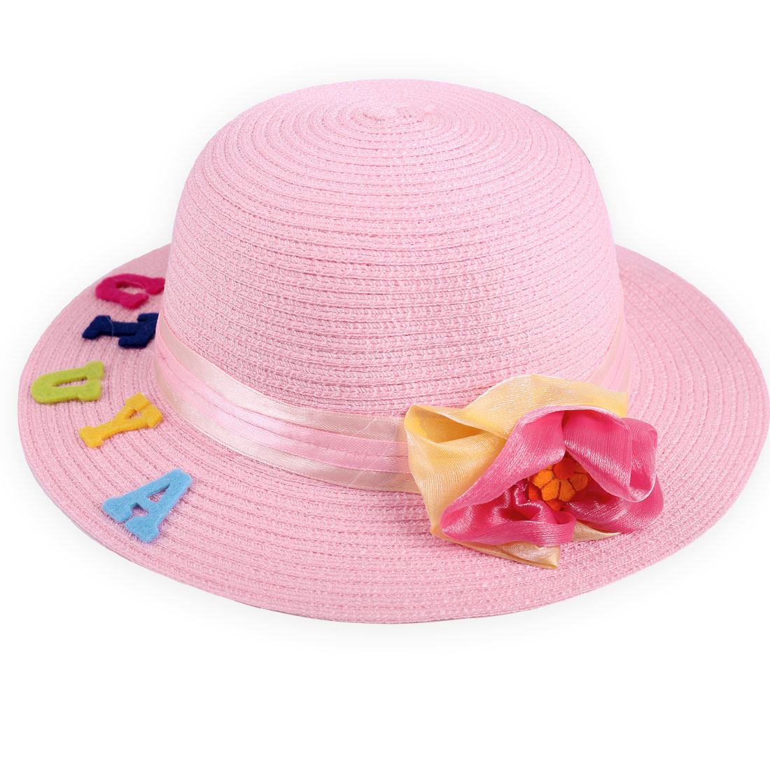 Lovely Girl Pink Elastic Neck Strap Design 3D Letters Decor Sun Straw Hat