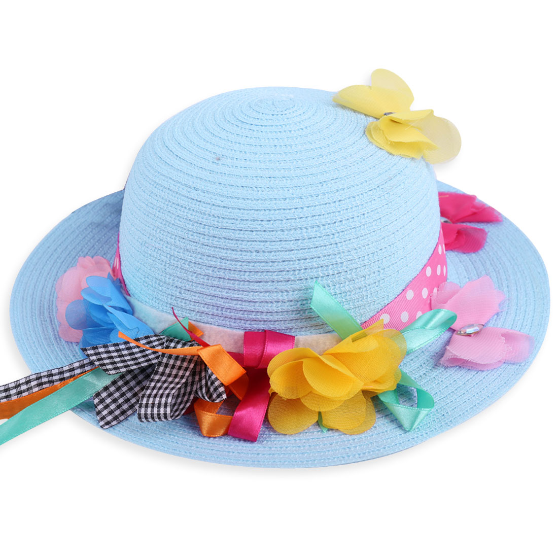 Girls Lovely Light Blue Handmade Flower and Butterfly Decor Sun Strw Hat