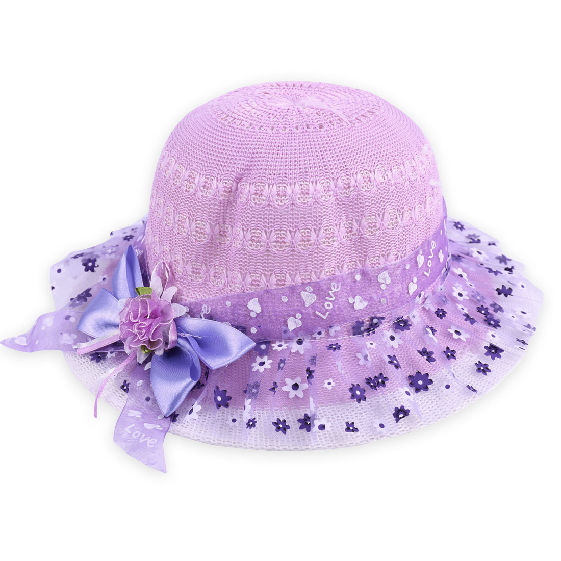 Lovely Girls Light Purple Floral Prints Mesh Covered Flower Decor Hat