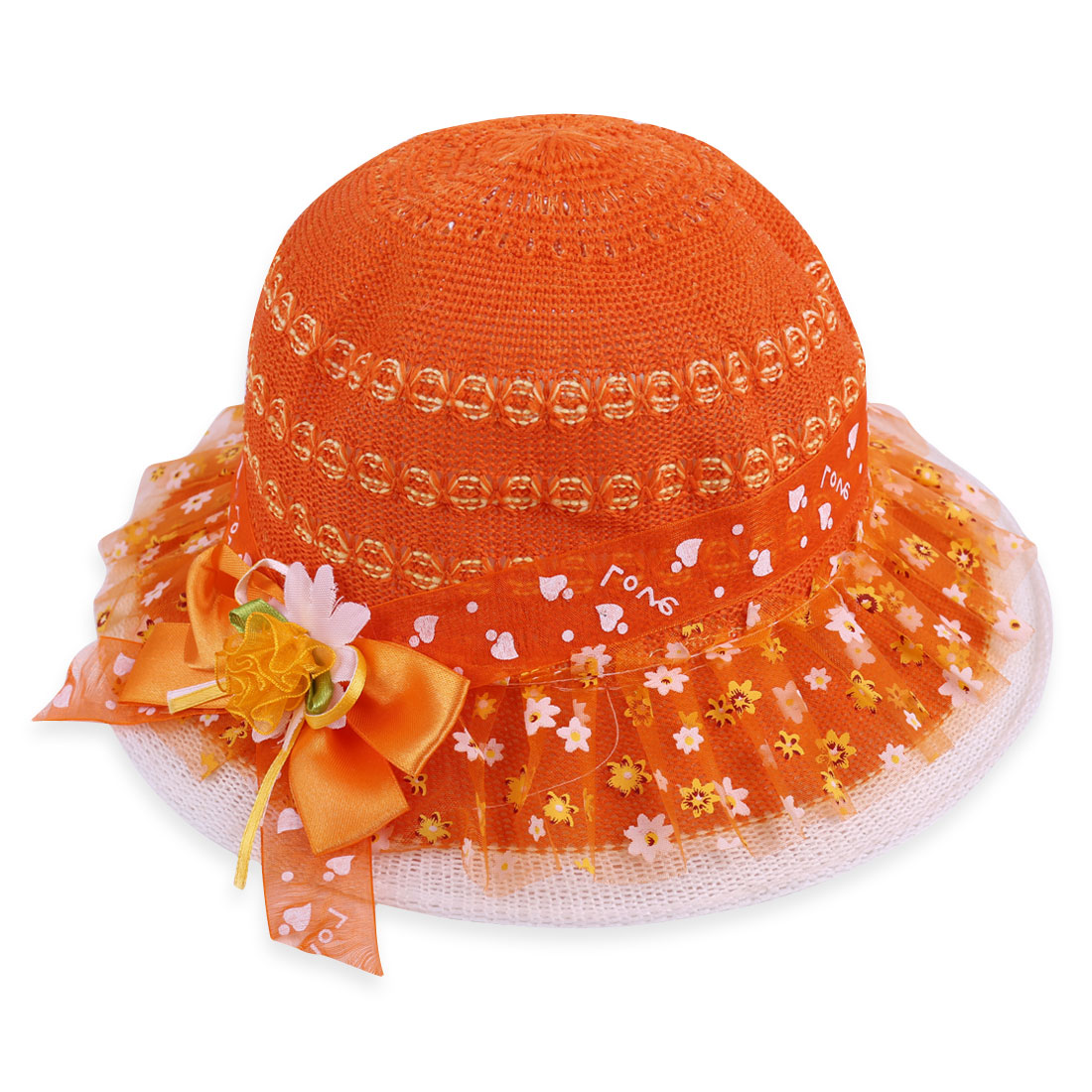 Girls Orange Bowtie and Flower Decor Elastic Neck Strap Design Hat