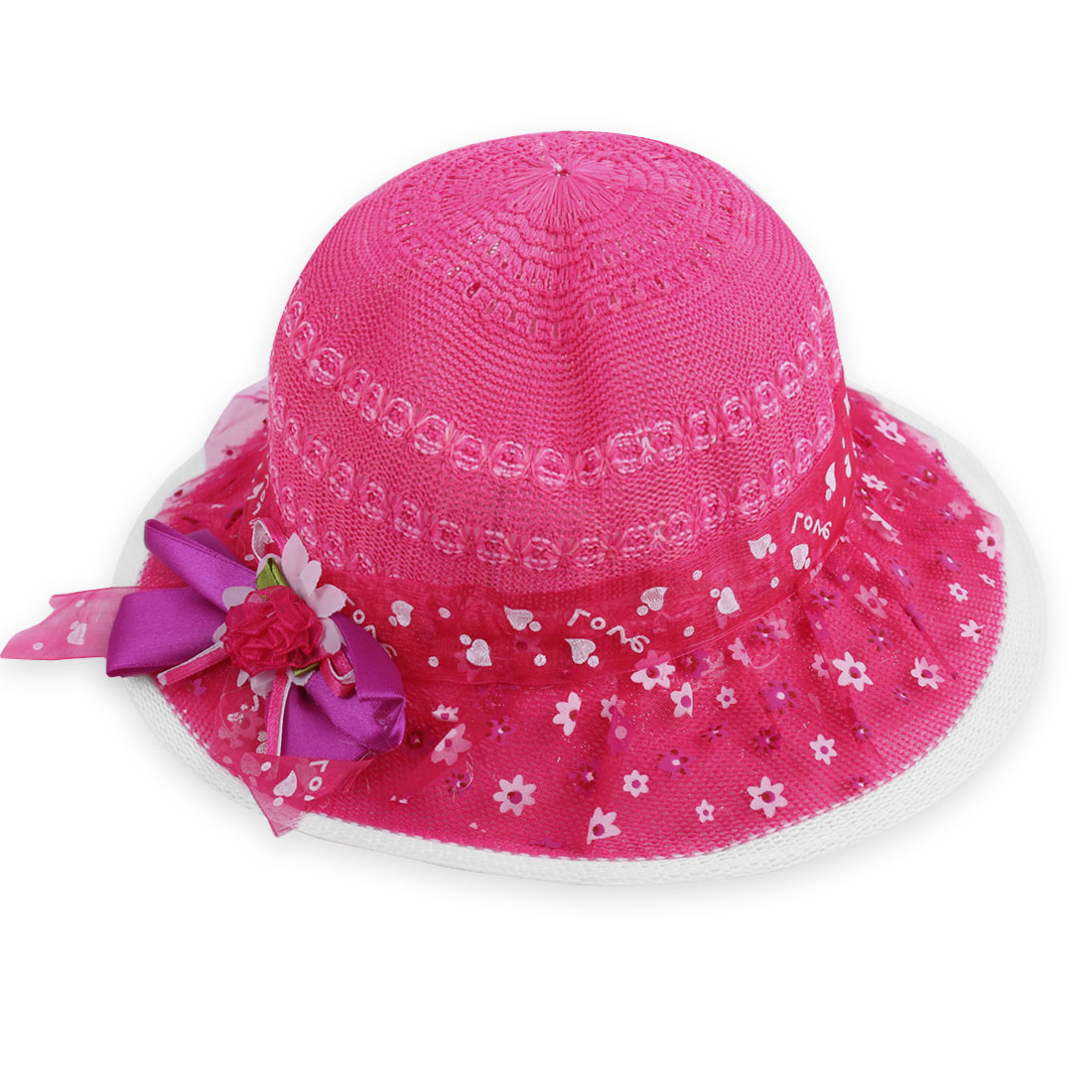 Girls New Fashion Fuchsia Bowtie and Flower Decor Hollow Out Hat