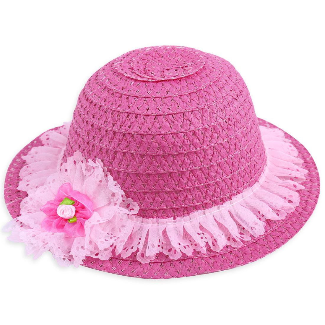 Children Mesh Embellished Round Hem Elastic Neck Strap Hat Fuchsia