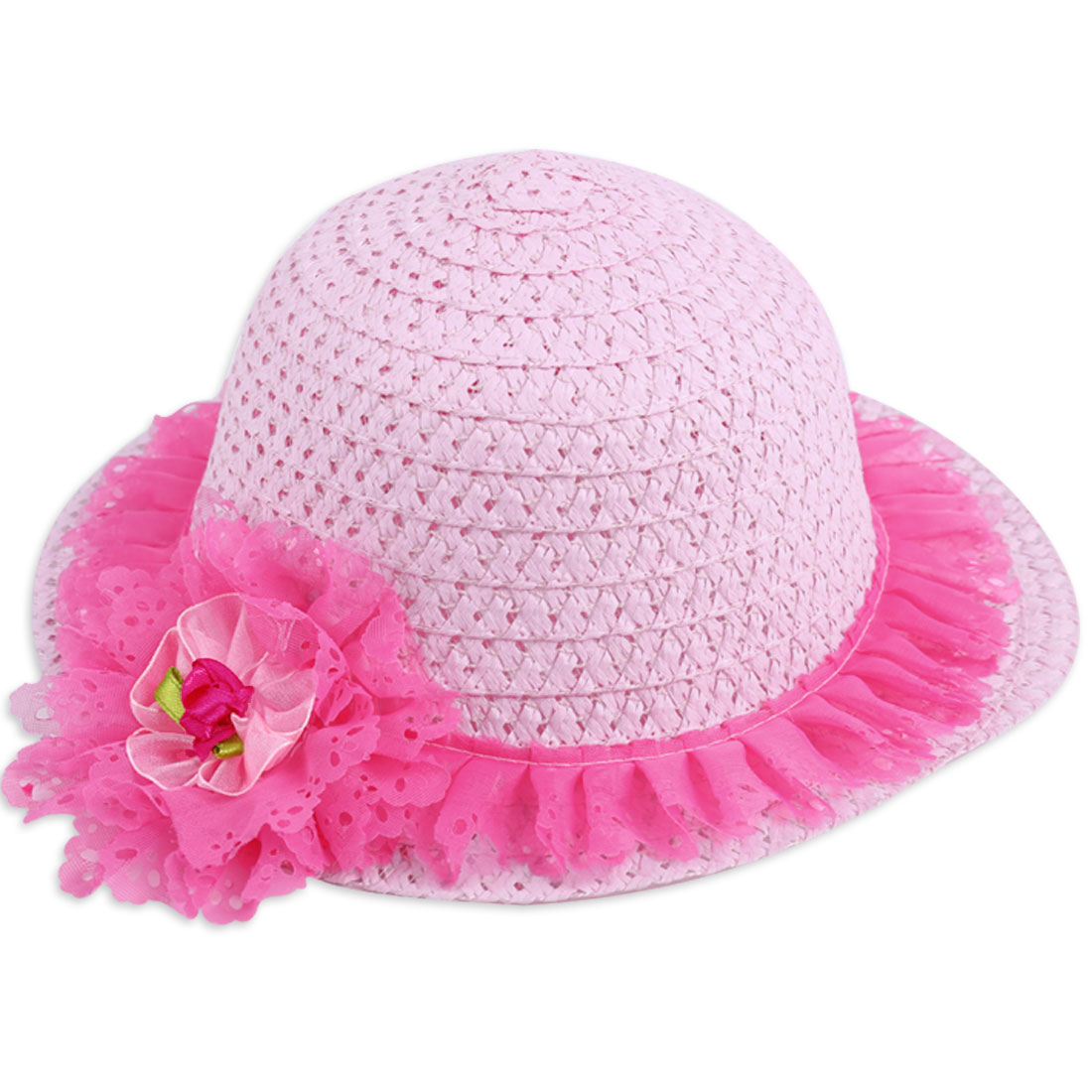 Girls Round Hem Hollow Out Flower Embellished Neck Strap Hat Pink