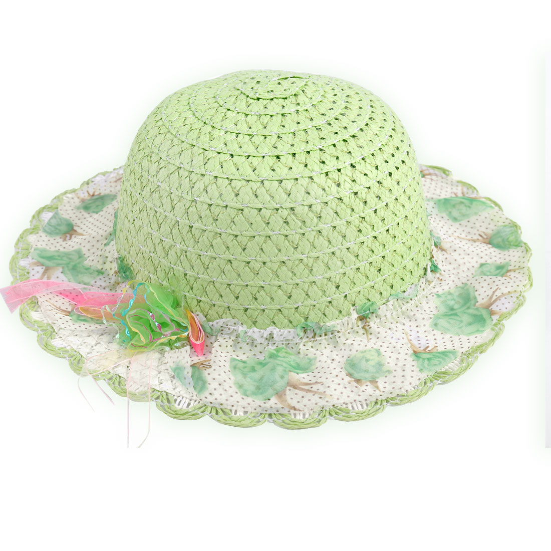 Girls Stitching Straw Elastic Neck Strap Flower Hat Light Green