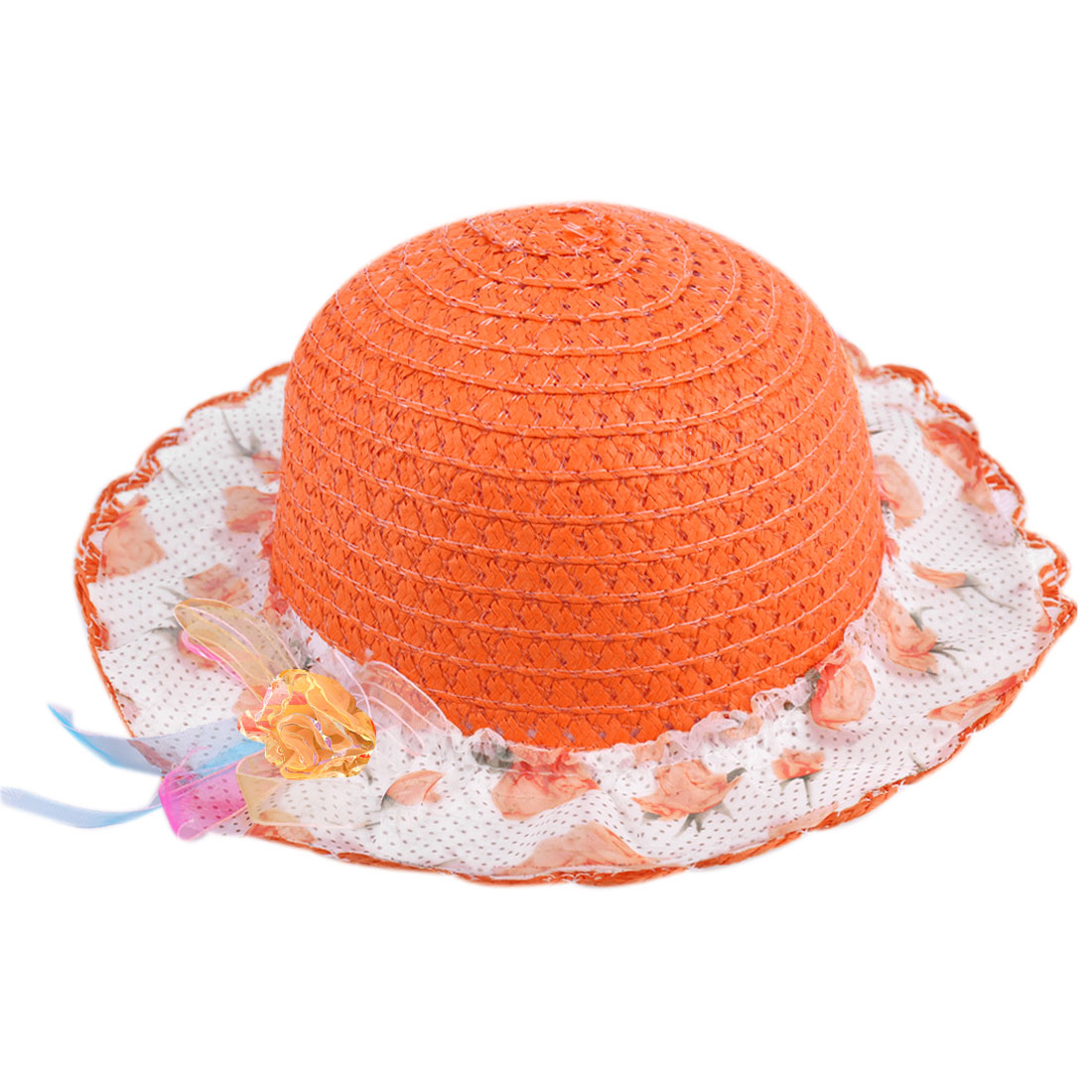 Sweet Girls Flower Decor Elastic Neck Strap Straw Hat Orange