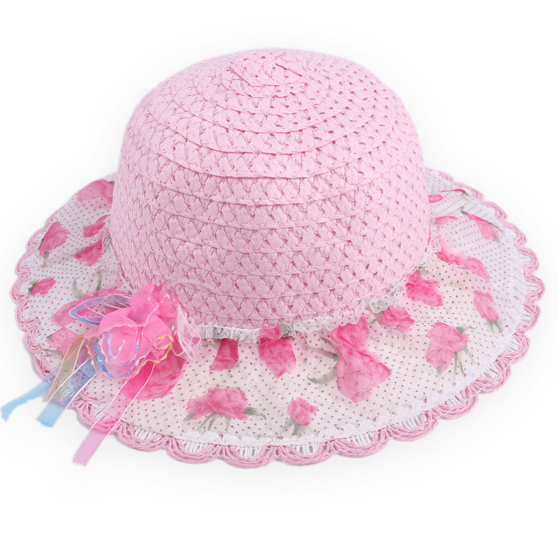 Girls Wavy Brim Flower Embellished Woven Straw Casual Hat Pink