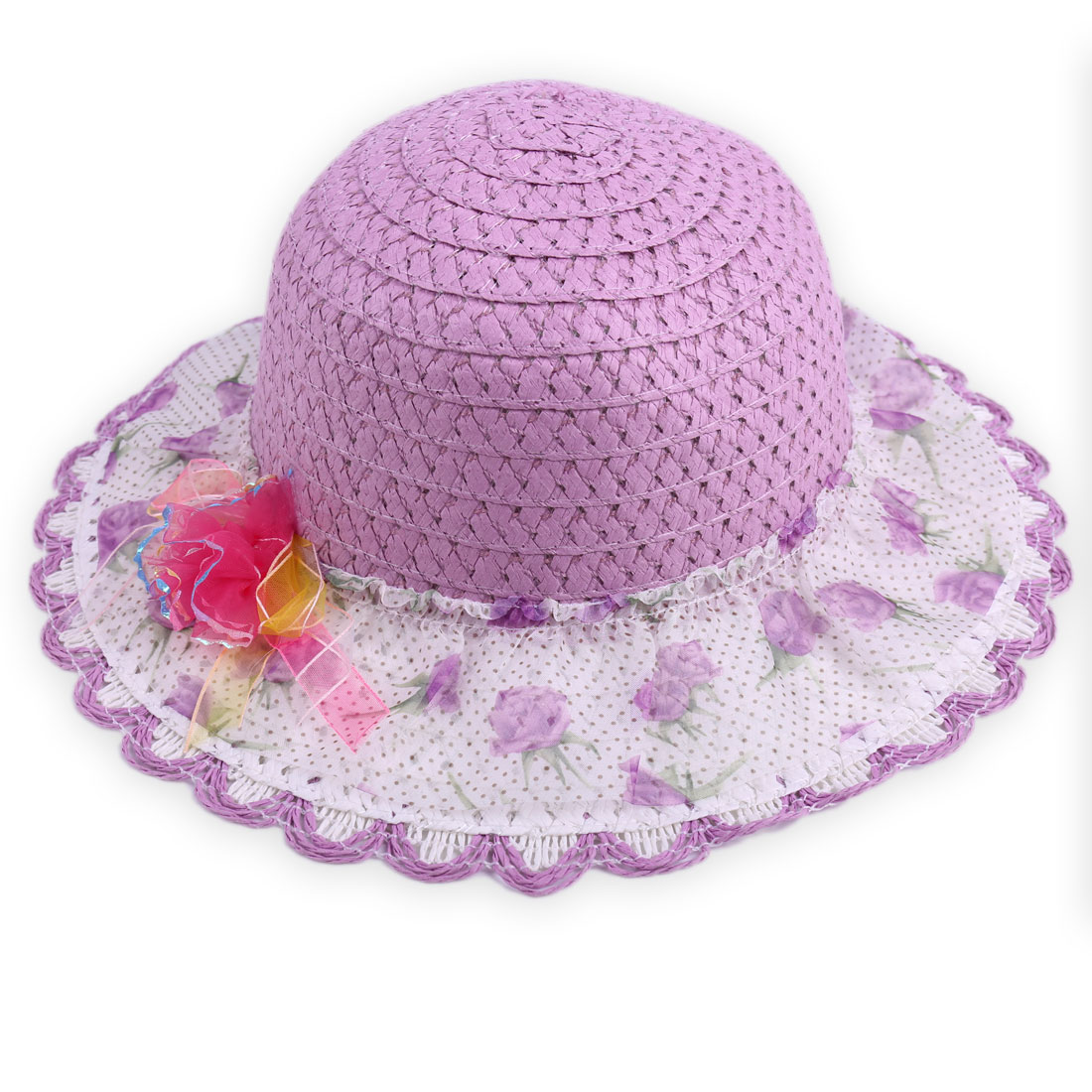 Girls Flower Embellished Round Hem Neck Strap Hat Purple