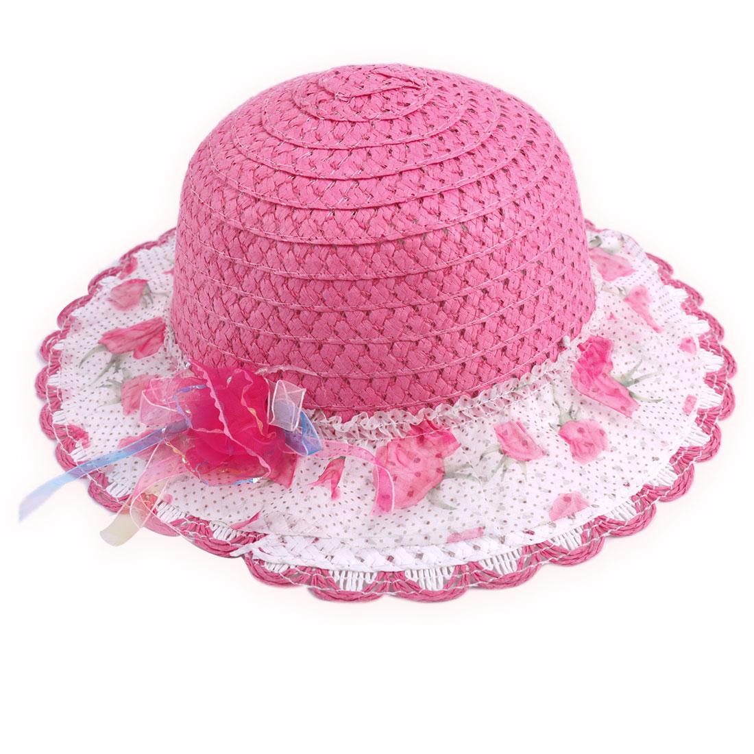 Dots Prints Mesh Woven Straw Wavy Hem Neck Strap Hat for Girls Fuchsia