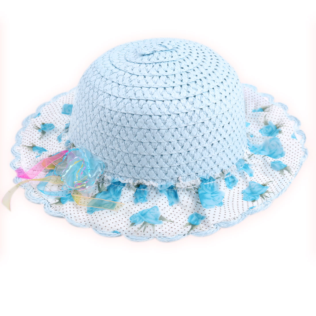 Girls Round Brim Flower Prints Mesh Decor Neck Strap Hat Baby Blue