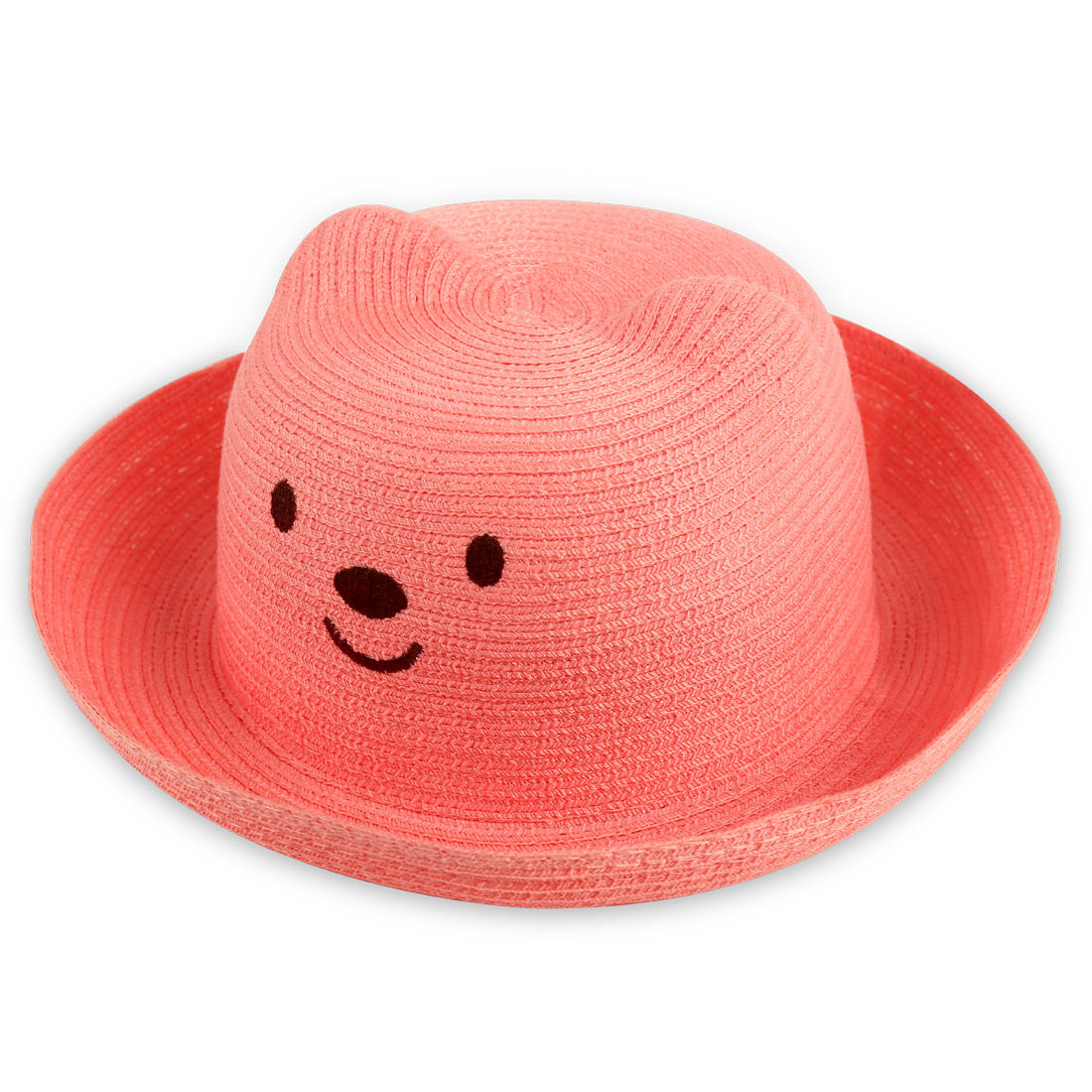 Kids Lovely 3D Bear Head Design Elastic Neck Strap Design Watermelon Red Hat