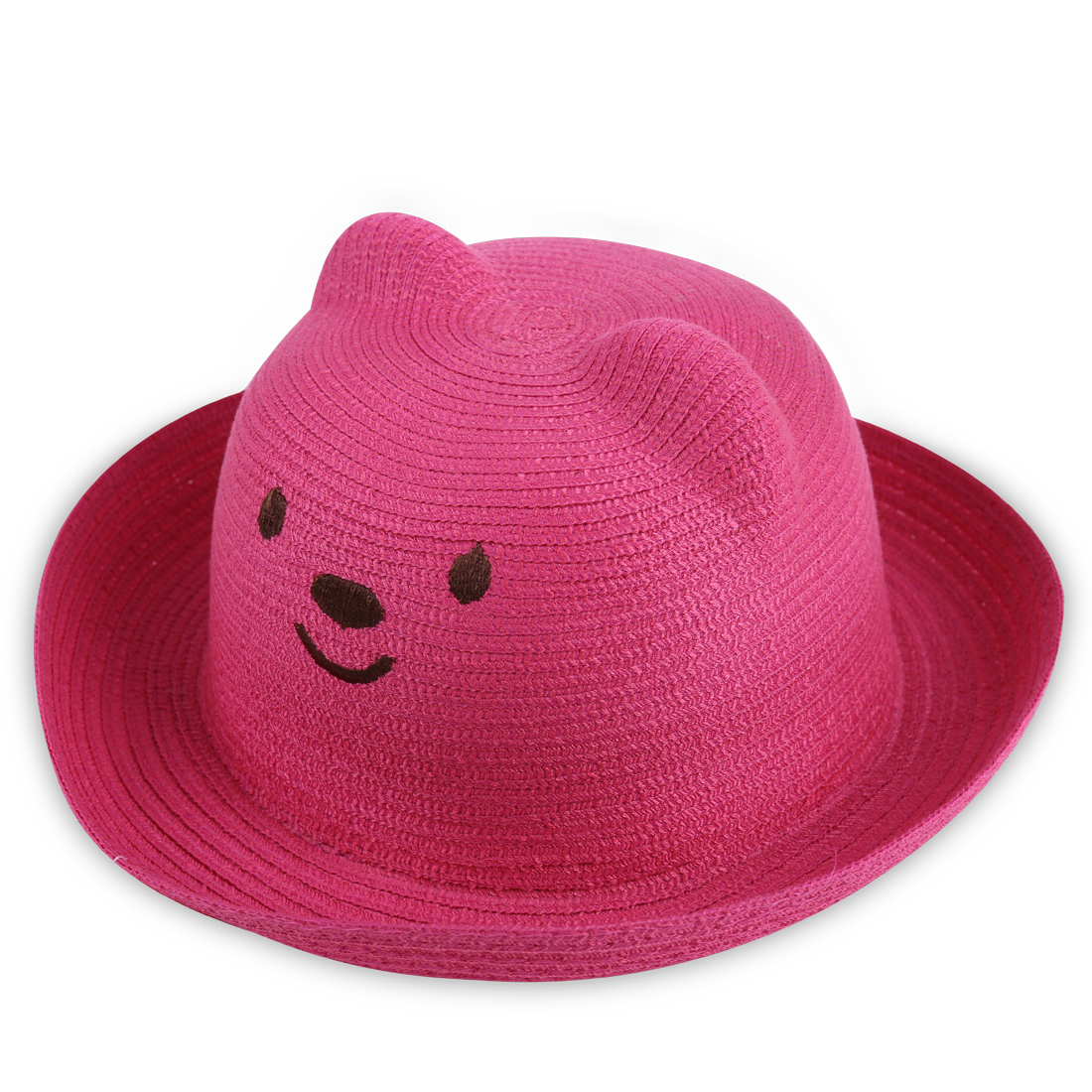 Boys Gilrs Lovely Embroidered Bear Pattern Fuchsia Woven Straw Hat