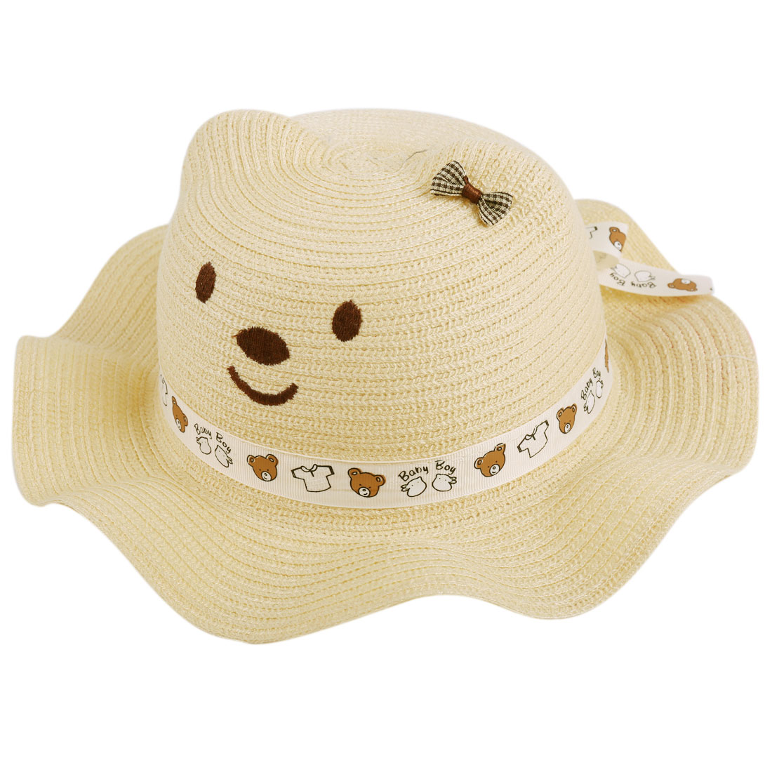 Girls Lovely 3D Cartoon Bear Head Design Beige Sun Straw Hat