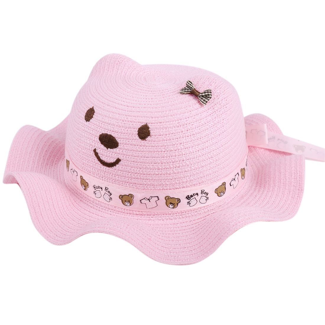 Cute Pink Color Elastic Neck Strap Design Wavy Brim Sun Straw Hat for Girl