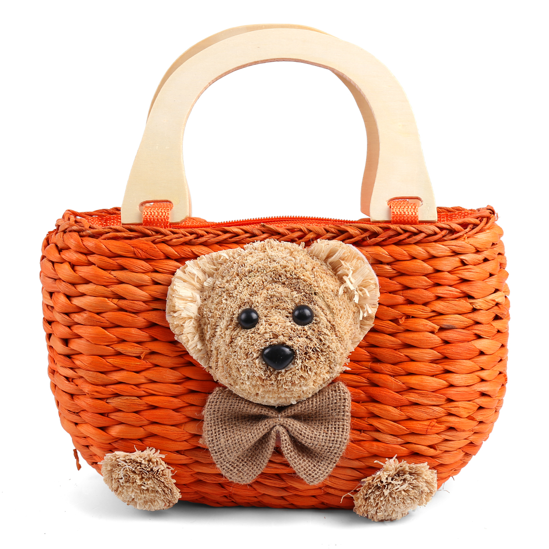 Girls Chic Orange Color Solid Bear Embellished Woven Straw Handbag