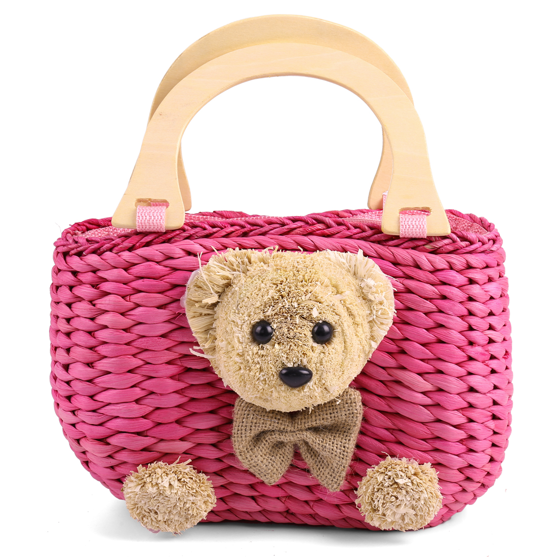 Girls Cute 3D Bear Decor Zipper Clousre Design Fuchsia Straw Woven Handbag