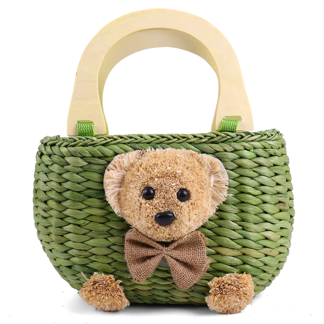 Girls Fashional Light Green Wood Handle Design Woven Straw Handbag