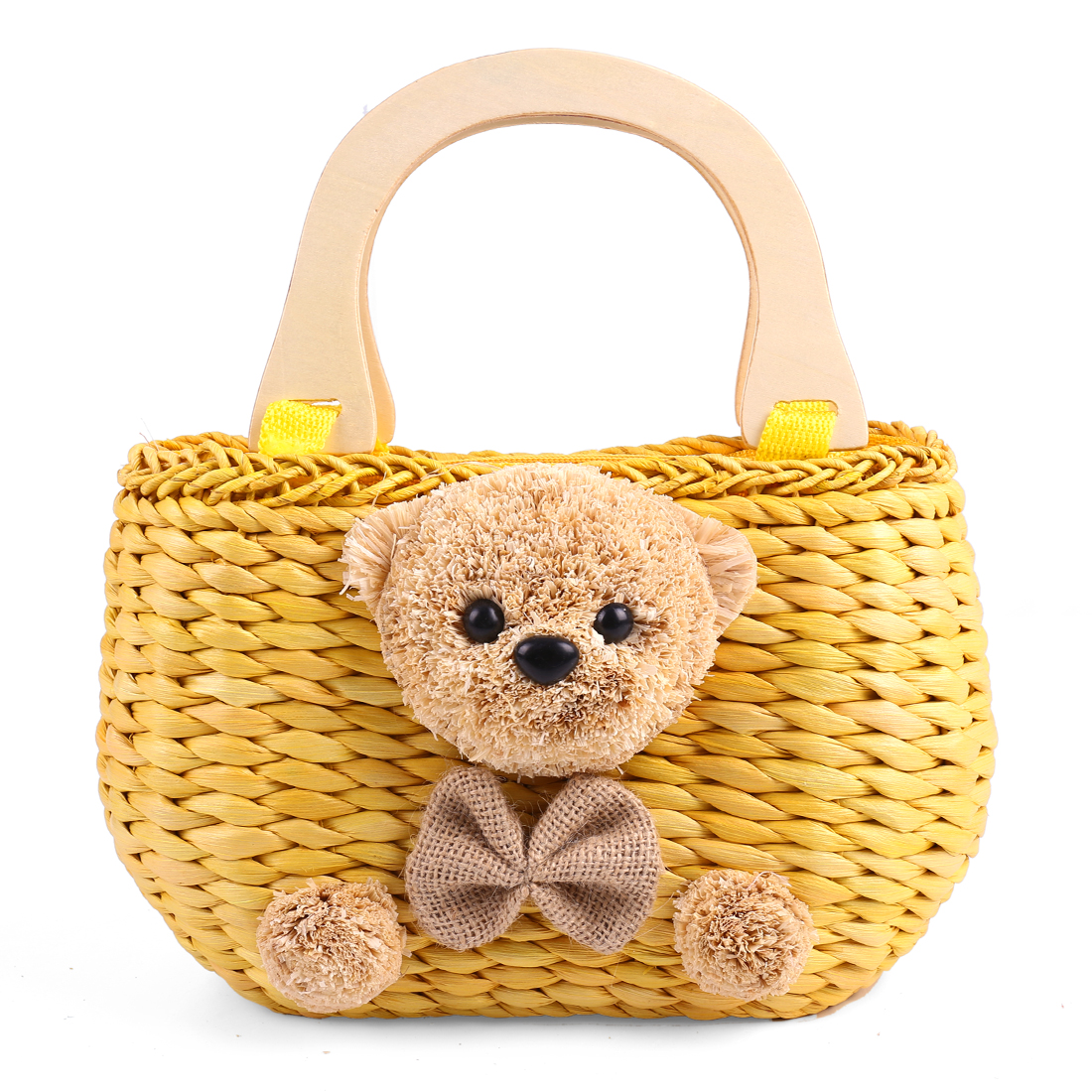 Stylish Light Yellow Solid Bear Decor Woven Straw Handbag for Girls
