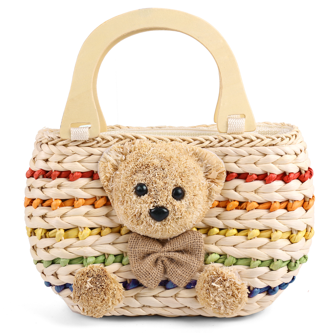 Girls Chic Color Stripes 3D Bear Decor Beige Woven Straw Handbag