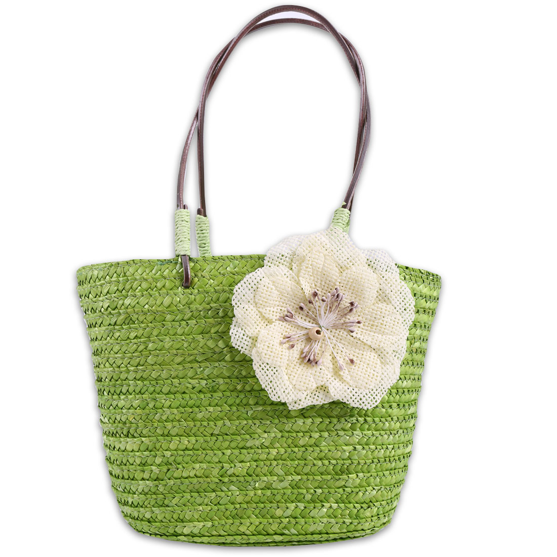 Girls Drawstring Closure Solid Flower Detail Straw Handbag Green