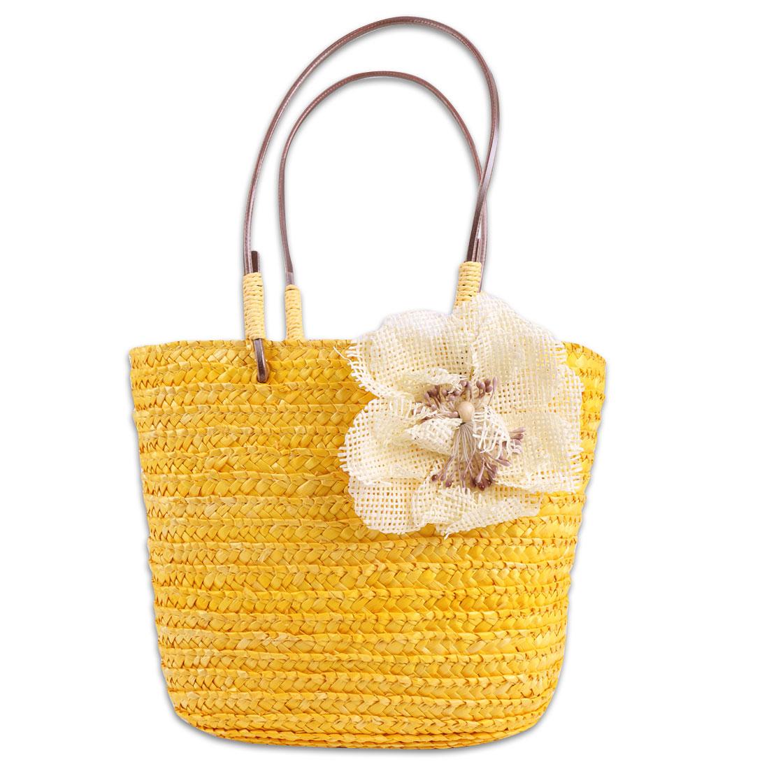 Girls Interior Pocket Stylish Shopping Straw Handbag Yellow