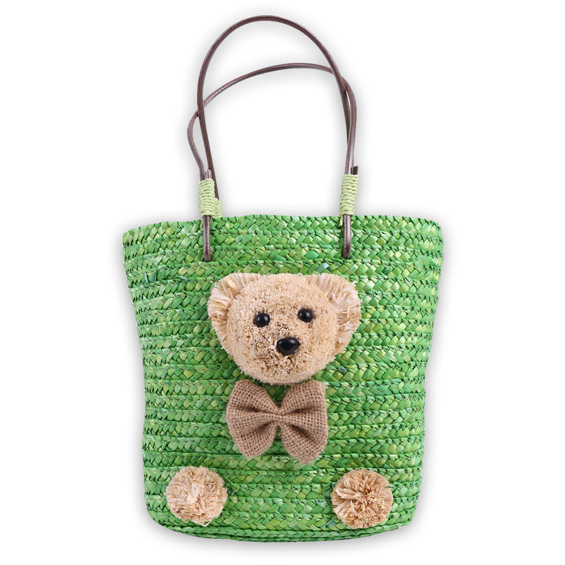 Girls Solid Bear Detail Drawstring Closure Straw Handbag Green