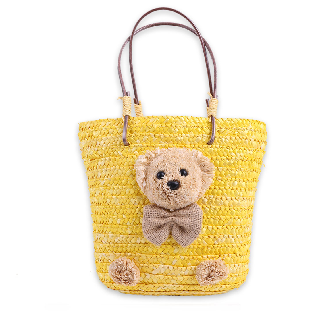 Girls Solid Bow Decor Interior Pocket Straw Handbag Yellow