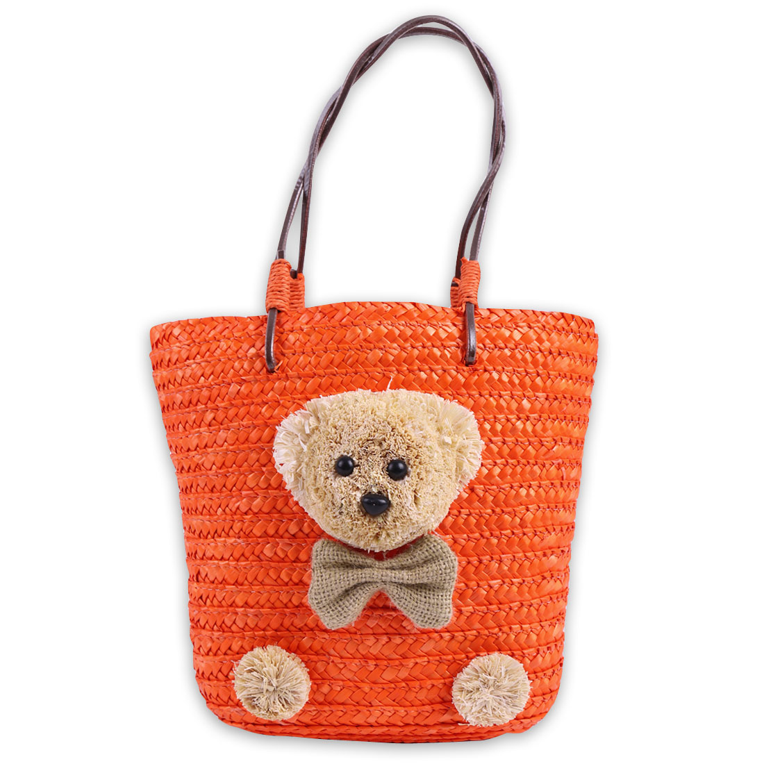 Solid Flower Embellished Lining Straw Handbag for Girls Orange