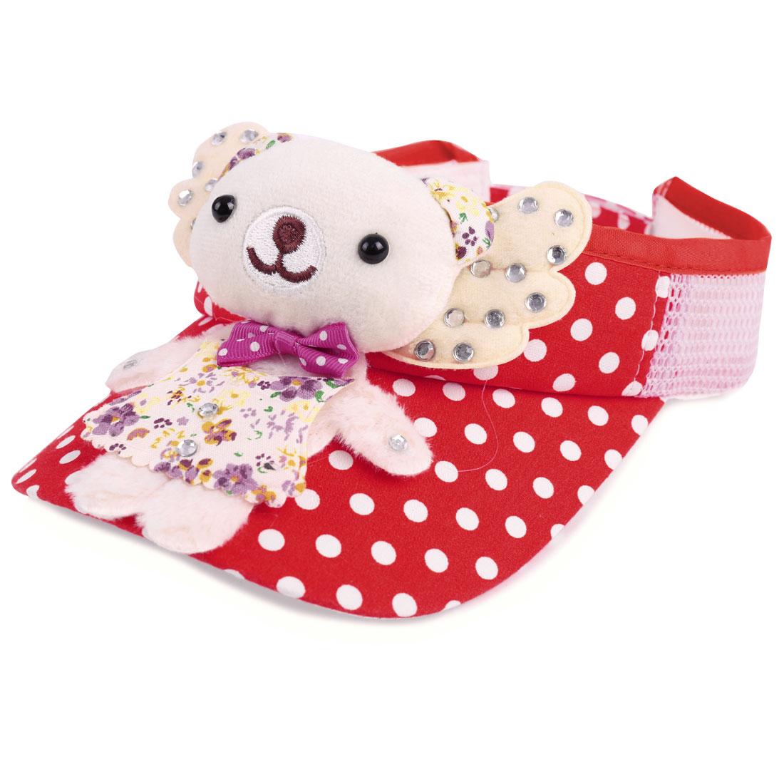 Girls Lovely Dots Pattern 3D Bear Doll Decor Red Visor Sun Hat