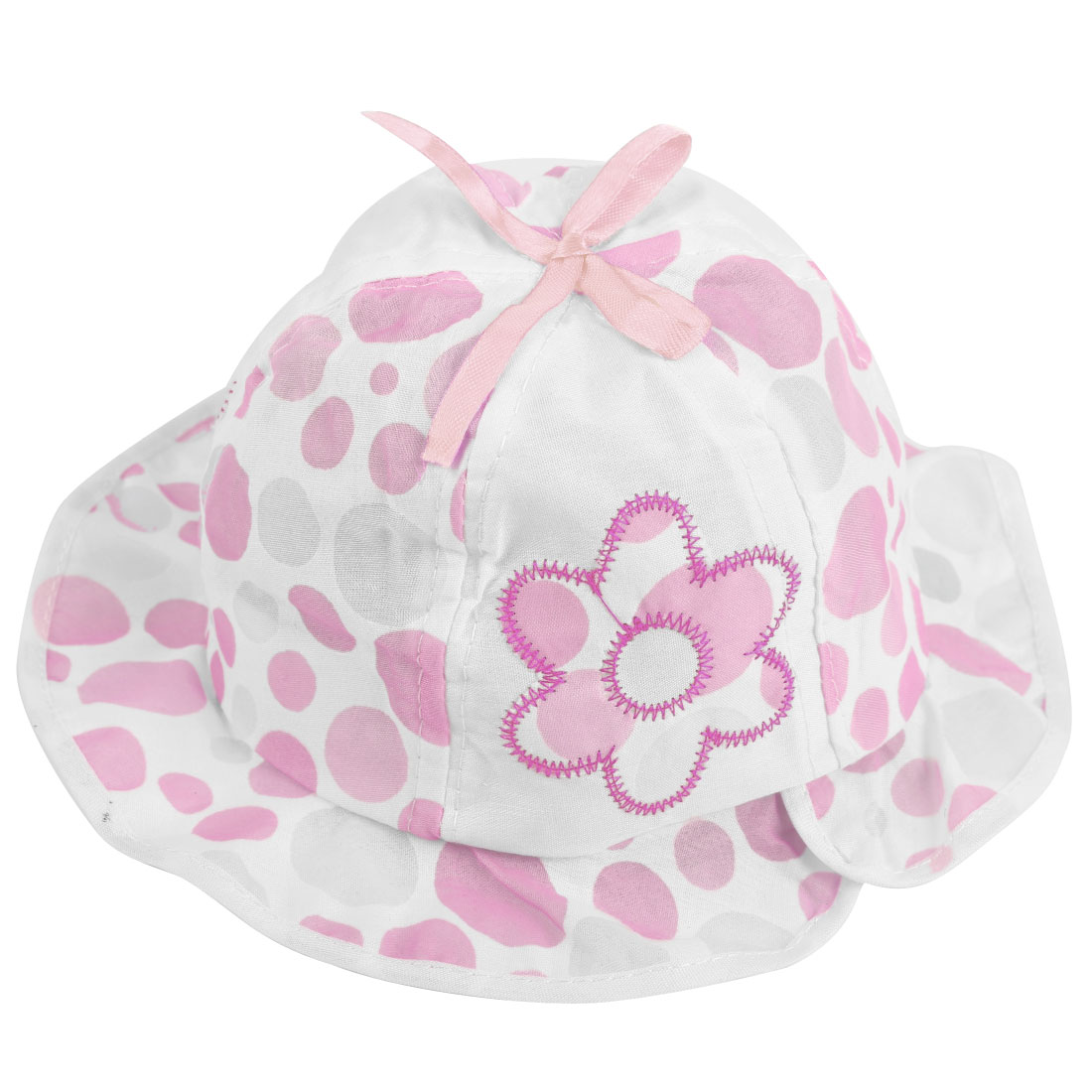 Lovely Pink Dots Pattern Elastic Neck Strap Design Coton Sun Hat for Baby Girl