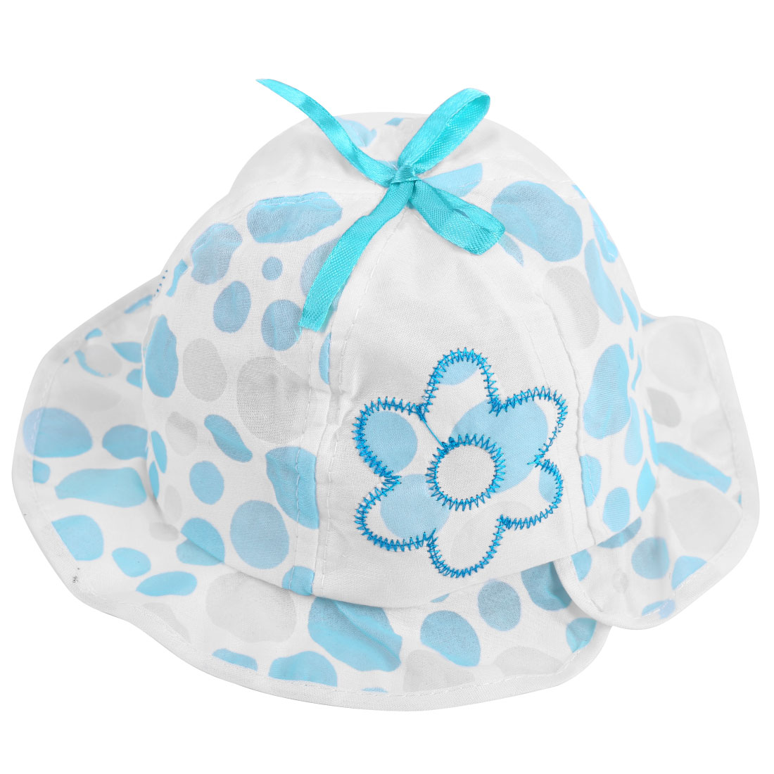 Baby Girls Chic Elastic Neck Strap Design Bowknot Decor Baby Blue Cotton Hat