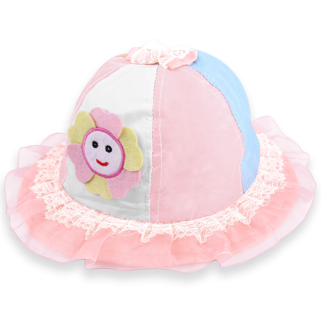 Girls Mesh Decor Brim Contrast Color Sun Hat Pink White