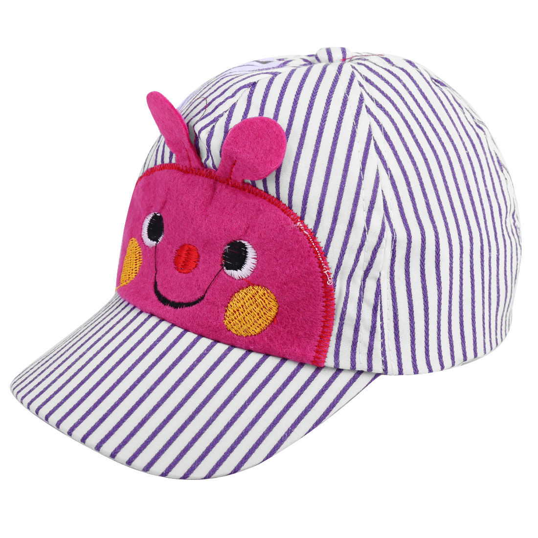 Boys Girls Bee Face Low Crown Stripes Baseball Cap Purple White