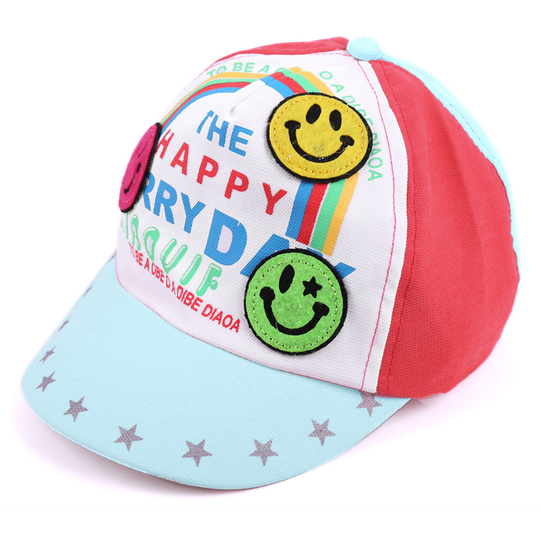 Baby Light Blue 3D Smile Face Decor Contrast Color Design Ball Cap Hat