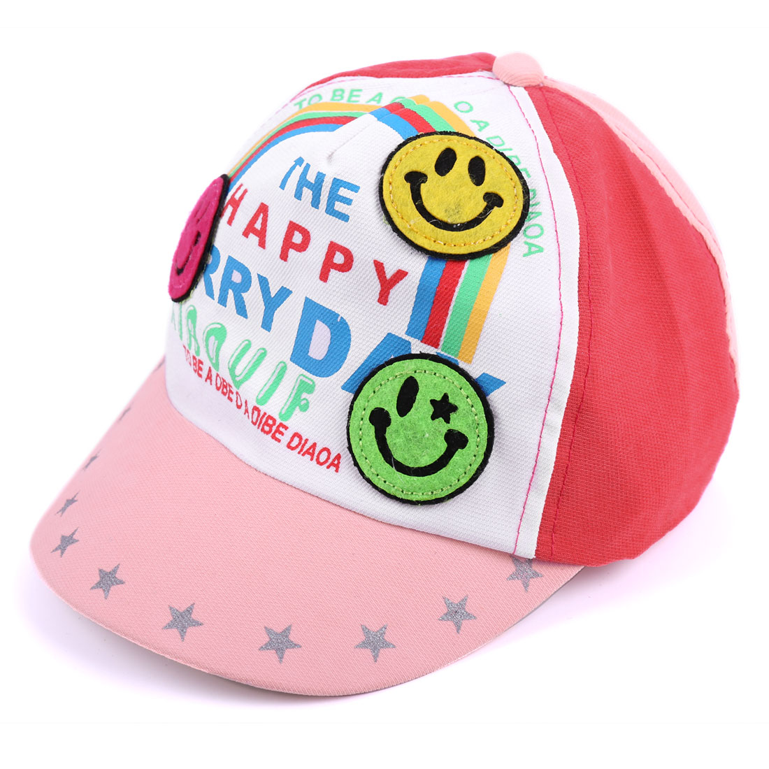 Baby Lovely 3D Smile Face Decor Letters Pattern Light Pink Viros Cap Hat