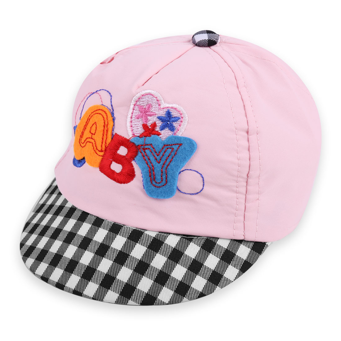 Lovely Light Pink Color Embroidered Letters Embellished Visor Cap for Baby