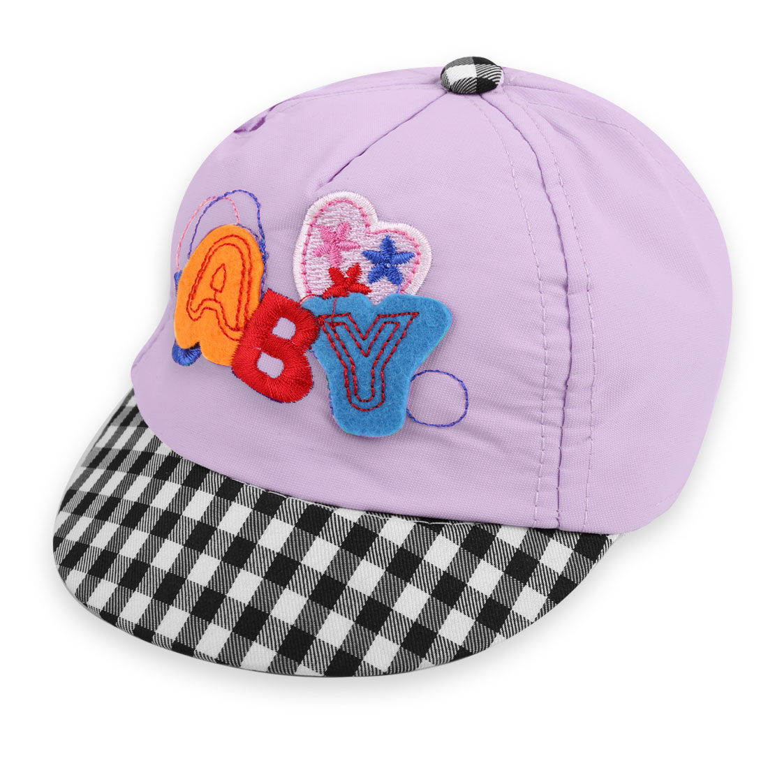 Baby Lovely Light Purple Embroidered Letters Design Plaids Pattern Visor Hat
