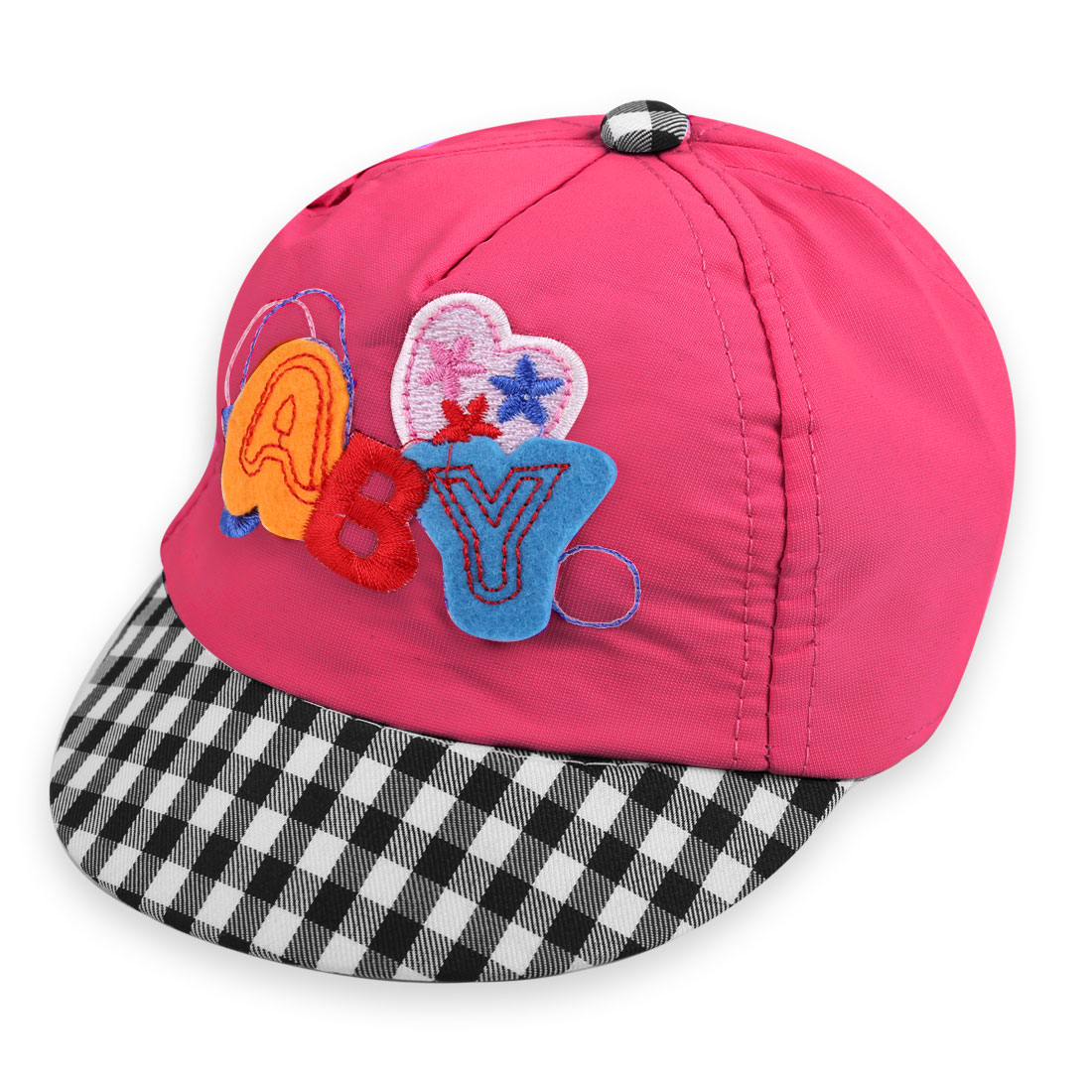 Baby Lovely Embroidered Letters Design Check Pattern Fuchsia Visor Cap Hat